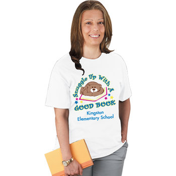 Snuggle Up With A Good Book (White) Adult T-Shirt - Personalization Available