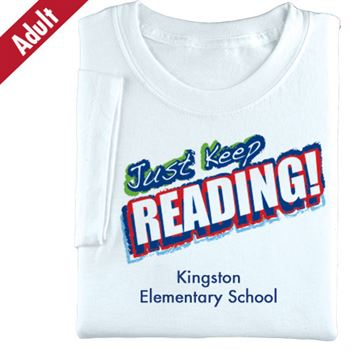 Just Keep Reading! (White) Adult T-Shirt - Personalization Available