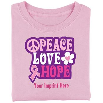 Pink Peace, Love, Hope Women's Cut Cotton T-Shirt - Personalization Available