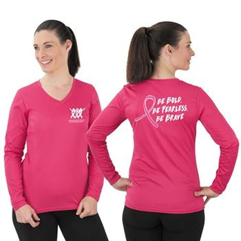 Be Bold, Be Fearless, Be Brave Ladies Wicking Long-Sleeve T-Shirt - Personalization Available