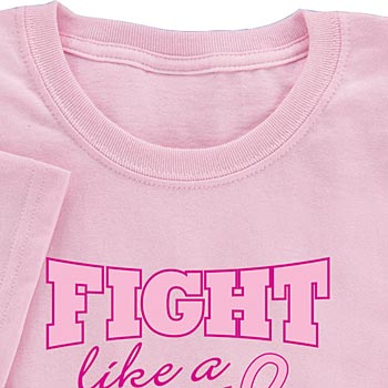 Pink Cotton Fight Like A Girl Women's Cut T-Shirt - Personalization Available