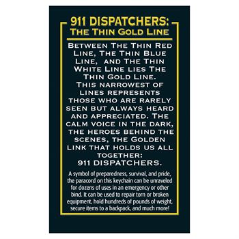 911 Dispatchers: The Thin Gold Line Paracord Key Chain With Card