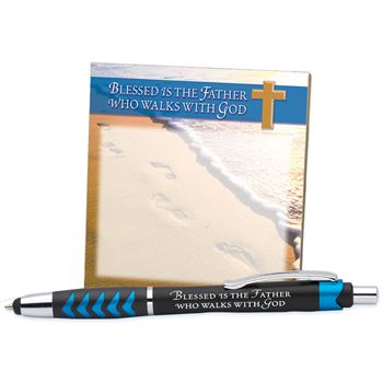 Blessed Is The Father Who Walks With God Sticky Pad & Stylus Pen Gift Set