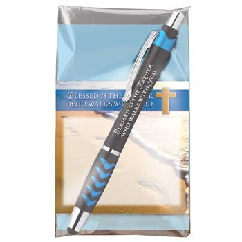 Blessed Is The Father Who Walks With God Sticky Pad & Pen Gift Set