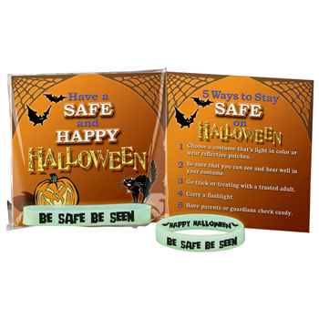 Be Safe, Be Seen Glow-In-The-Dark Silicone Bracelet With Halloween Safety Tips Card - Pack of 10