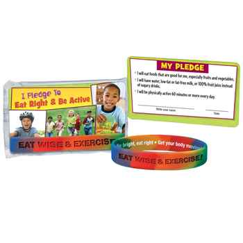 Eat Wise And Exercise! Silicone Bracelet With Pledge Card