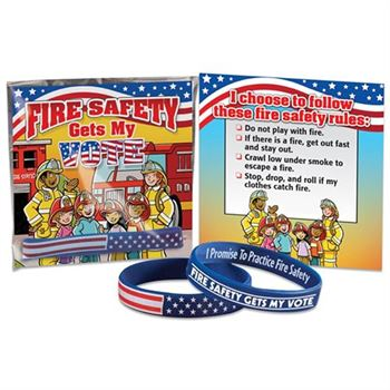 Fire Safety Gets My Vote 2-Sided Silicone Bracelet With Card