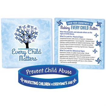 Protecting Children Is Everyone's Job Awareness Silicone Bracelet With Prevention Tips Card - Pack of 10