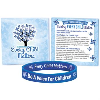 Be A Voice For Children Awareness Silicone Bracelet With Prevention Tips Card - Pack of 10