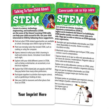 Talking To Your Child About STEM Two-Sided Bilingual Glancer With Magnet - Personalization Available