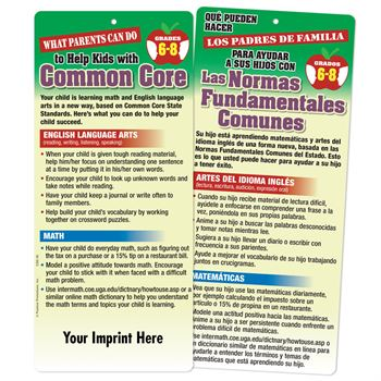 What Parents Can Do To Help Kids With Common Core 2-Sided Bilingual Glancer For Middle School