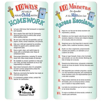 10 Ways To Help Your Child With Homework Bilingual Glancer With Magnet - Personalization Available