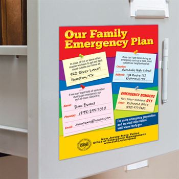 Our Family Emergency Plan Dry Erase Board & Wipe-Off Marker - Personalization Available
