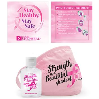 Strength Is A Beautiful Shade Of Pink Hand Sanitizer & Face Mask Self-Protection Kit - Personalization Available