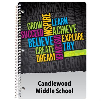 Word Cloud Middle School Student Planner - Personalization Availalbe