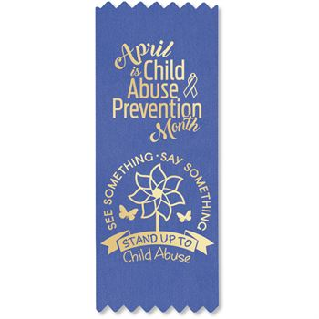 See Something. Say Something. Stand Up To Child Abuse. Blue Satin Self-Stick Ribbon - Pack of 100