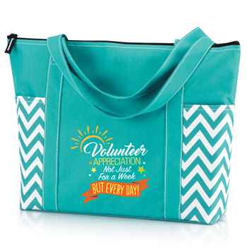 Volunteer Appreciation: Not Just For A Week But Every Day! Turquoise Chevron Tote