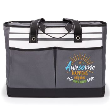 Awesome Happens Only When We Comes Before Me Gray Traveler Two-Pocket Tote Bag