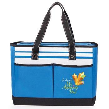 For All You, Do We Appreciate You! Blue Traveler Two-Pocket Tote Bag
