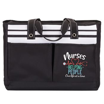 Nurses: Helping People One Life At A Time Black Traveler Two-Pocket Tote Bag