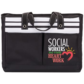 Social Workers Do The Heart Work Traveler Two Pocket Tote