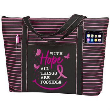 With Hope All Things Are Possible Avery Striped Tote Bag