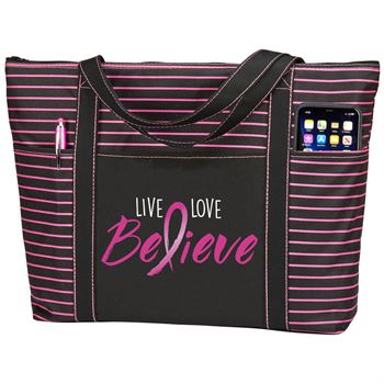 Live, Love, Believe Avery Striped Tote Bag