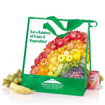 Eat A Rainbow of Fruits & Veggies Laminated Insulated Eco-Shopper Tote - Personalization Available