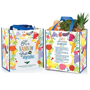 Eat A Rainbow Of Fruits And Vegetables Non-Insulated Laminated Eco-Shopper Tote - Personalization Available