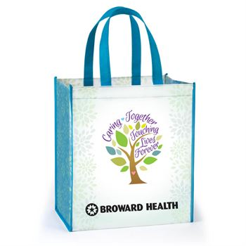 Caring Together, Touching Lives Forever Full-Color Laminated Non-Woven Tote with Personalization