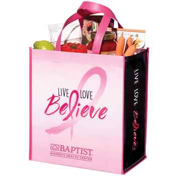Live, Love, Believe Non-Insulated Laminated Eco-Shopper Tote with Personalization