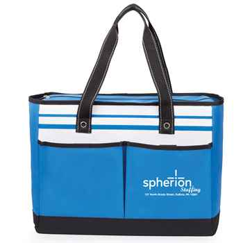 Traveler Two-Pocket Blue Tote Bag - Personalization Available