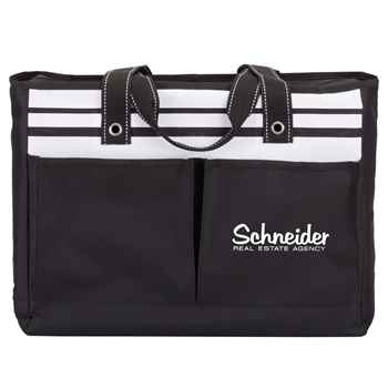 Traveler Two-Pocket Black Tote Bag - Personalization Available