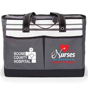 Nurses: The Heartbeat Of Healthcare Gray Traveler Two-Pocket Tote Bag - Personalized