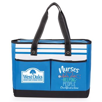 Nurses: Helping People One Life At A Time Blue Traveler Two-Pocket Tote Bag - Personalization Available