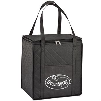 Black Verona Quilted Non-Woven Insulated Tote - Personalization Available