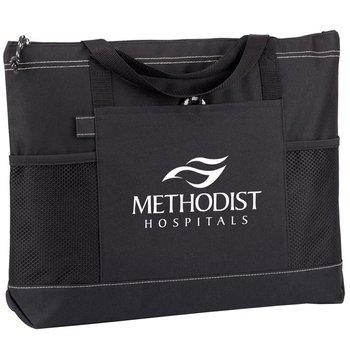 Moreno Multi-Pocket Black Tote Bag - Personalization Available