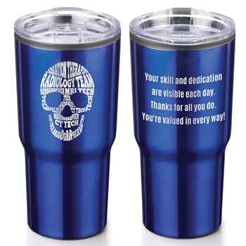 Radiology Team Skull Word Cloud Timber Insulated Stainless Steel Travel Tumbler 20-Oz.