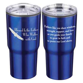 Blessed Is The Father Who Walks With God Timber Insulated Stainless Steel Travel Tumbler 20-Oz.