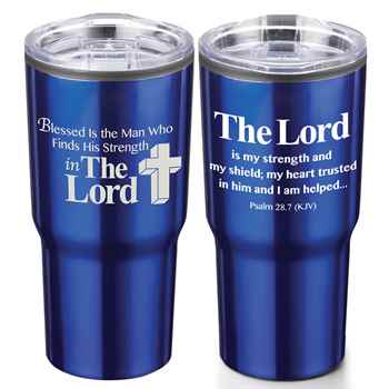 Blessed Is The Man Who Finds His Strength In The Lord Timber Insulated Stainless Steel Travel Tumbler 20-Oz.