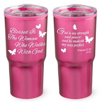 Bless Is The Woman Who Walks With God Timber Insulated Stainless Steel Travel Tumbler 20-Oz.
