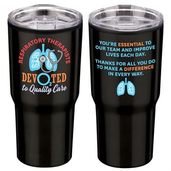 Respiratory Therapists: Devo2ted To Quality Care Timber Insulated Stainless Steel Travel Tumbler 20-Oz.