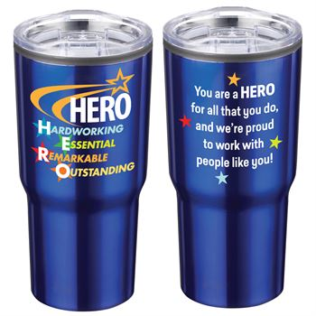 HERO: Hardworking, Essential, Remarkable, Outstanding Timber Insulated Stainless Steel Travel Tumbler 20-Oz.