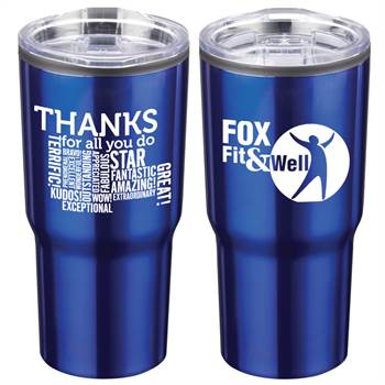 Thanks For All You Do Word Cloud Positivity Timber Insulated Stainless Steel Tumbler 20-Oz. with Personalization