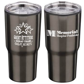 Positivity Titanium Timber Insulated Stainless Steel Travel Tumbler 20-Oz. With Personalization