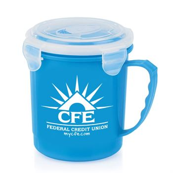 Blue Soup Mug With Locking Lid 24-Oz. - Personalization Available