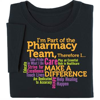 I'm Part Of The Pharmacy Team Word Cloud Black T-Shirt