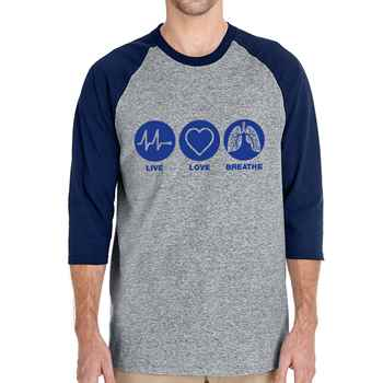 Live, Love, Breathe Gildan® Heavy Cotton™ 3/4 Raglan Sleeve T-Shirt
