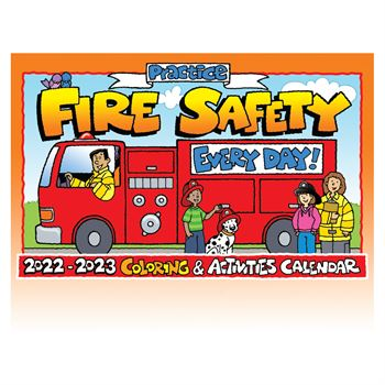 Practice Fire Safety Every Day! Coloring & Activities Calendar with Crayons