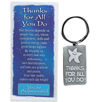 Thanks For All You Do! Pewter Key Ring